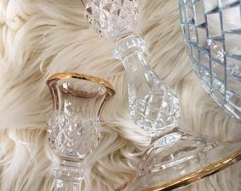 Vintage Crystal and Gold Candle Holders / Hollywood Regency Candlesticks / Boho Wedding or Shower Decor