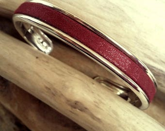Snap ring bracelet silver plated rhodium and bordeaux leather metallized Boho jewelry By Dodie