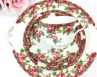 Royal Stafford Olde English Garden English Tea Trio, Pink Floral Bone China English Tea Cup, Saucer, Plate. Tea Time, Tea Party #A281, B018