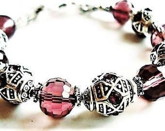 Burgundy Bracelet Crystal Jewelry Silver Bracelet Bohemian Jewelry Statement Bracelet Burgundy Jewelry Everyday Bracelet Bead Jewelry Gift