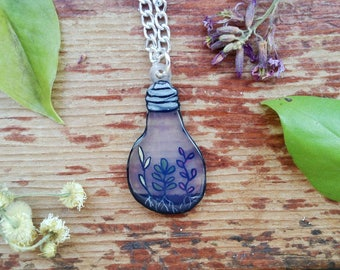 Cute Hand Painted Succulent Light Bulb Plant Holder Terrarium Necklace With Silver Chain