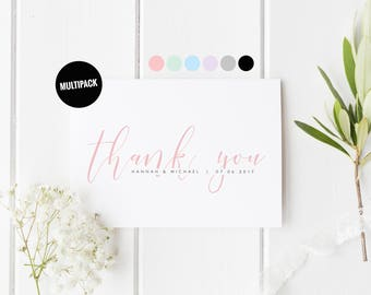 Thank You Wedding Cards Pack (10) Wedding Card Set, From The Newlyweds, Pretty Wedding Card, Color Wedding Thank You Card, Wedding Card Pack