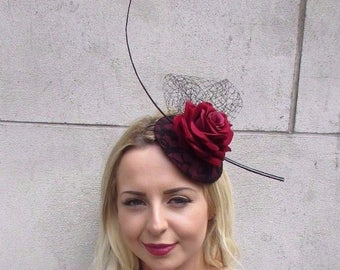 Black Burgundy Red Rose Net Flower Fascinator Hat Ascot Hair Clip Races Vtg 3111