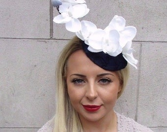 Navy Blue White Cream Orchid Flower Fascinator Hat Wedding Races Hair Clip 3183