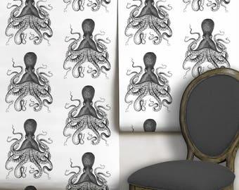 Octopus Peel 'n Stick Wallpaper // Black