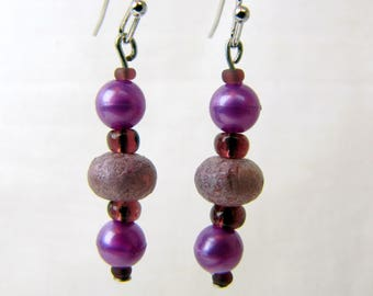 Handmade Earrings ~ Originals ~ Purple ~ Beaded ~ Dangle ~ Pierced