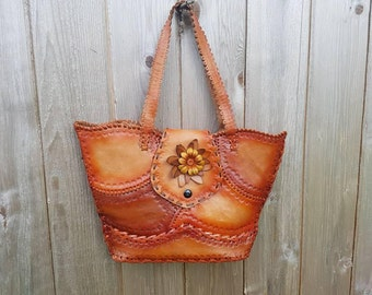Vtg 70s Burnt Orange Ombre Tooled Leather Purse Shoulder Bag Floral Beach Bag Boho Hippie Style