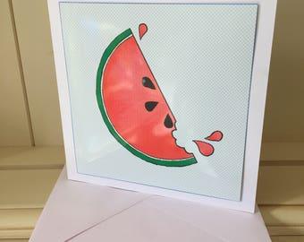Watermelon Card, Tropical Card, Blank Card, Funny Blank Card, Note Card, Watermelon Birthday, Watermelon Notecard, Funny Card, Birthday Card
