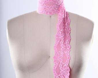 2 Yards Japanese Pink Lace Trim/ Pink Stretch Lace Band/ Pink Flower and Scallops Lace Trim for Headbands and Accessories