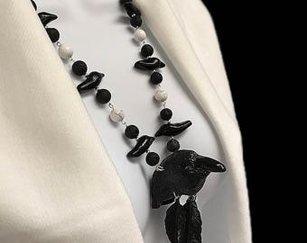 RAVEN TOTEM Necklace OOAK Raven Jewelry Crow Pendant Raven Fetish Jewelry Wicca Necklace Totem Jewelry One of a Kind Raven Fetish Necklace