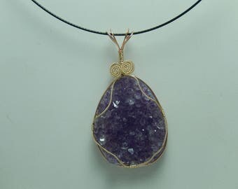 Amethyst crystal wire wrapped pendant