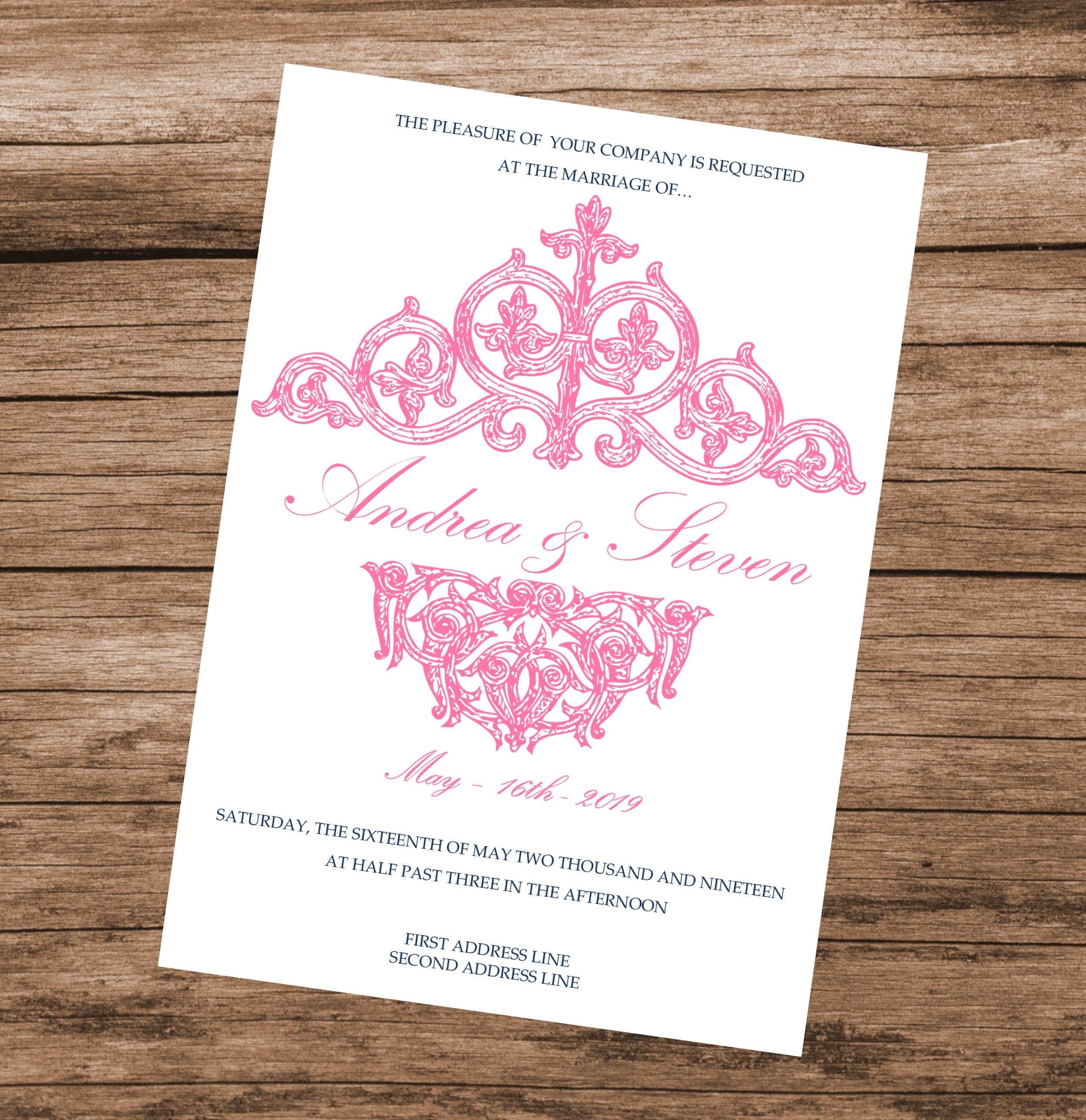 Pink Vintage Wedding Invitation Template, DIY Pink Baby Shower ...