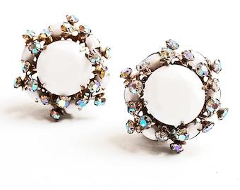 Stunning 1950'S Milk Glass and Rhinestone, Aurora Borealis Clip on Earrings