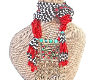 Vintage Bohemian Ethnic Tribal 1960'S Seed Beaded Necklace with Large Tribal Banjara Pendant India