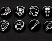 Vampire the Masquerade Clan Symbol Pinback Button Set