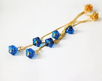blue gold studs boho earrings gold flower studs dangle studs gold dangles cobalt jewelry gift women dainty studs gift wife anniversary пя229