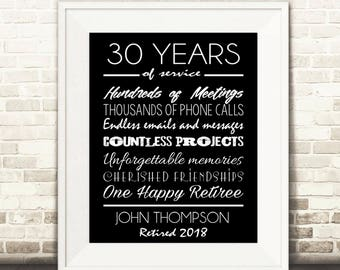 Retirement Print - Retirement Gift, Retiree Gift. Retirement Poster - DIGITAL Printable File BLACK