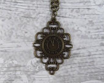 Steampunk Watch Clock Victorian Pendant Necklace