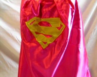 Pink and purple supergirl cape, girls can be heroes too, birthday gife, Christmas present, handmade, dress up, costume fun, girl power