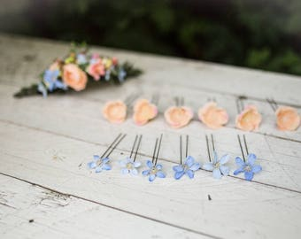 Set of 12 hairpins Hairpins in blue and peach combination Hair flowers Flower hair pins Wedding floral accessories
