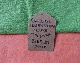 KRAFT Love is the key to Happiness, Personalized Wedding Tag, Kraft Tags, Wedding Favor Tag, Favor Tag. Set of 25 to 300 pieces