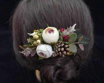 Gift/for/sister Beige Flower hair clip Winter wedding Flower hair piece Flower clip Bridal hair clip Wedding hair piece Bridesmaid hair clip