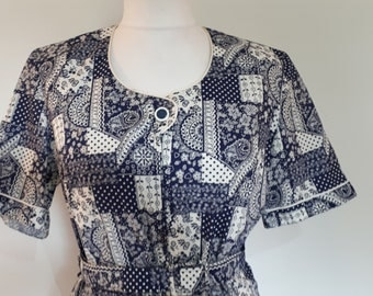 Vintage dress 80s navy white floral cotton dress by Norman Linton of London size extra large to XL