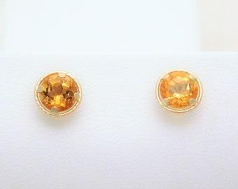 14k Gold 1.40ct Citrine Stud Earrings