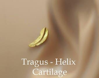 Feather Tragus 16 g - Tragus Earring - Flat Back Tragus - 16 Gauge Tragus Earring - Tragus Flat Back - Feather Earring 16g