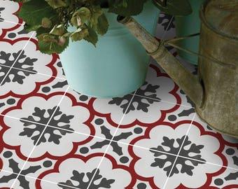 Vinyl Floor Tile Sticker - Floor decals - Genova Hand Painted Tile Sticker Pack in Rouge