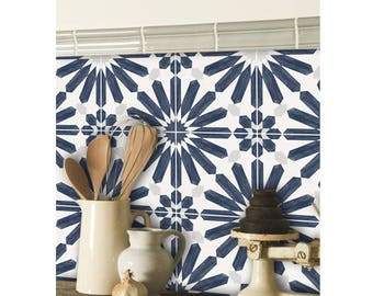 Kitchen and Bathroom Splashback - Removable Vinyl Wallpaper - Stellino Ink Blue - Peel & Stick