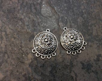Silver Chandelier earring forms in antique silver Filigree Chandelier earring connectors Sold per pair Superb Quality!