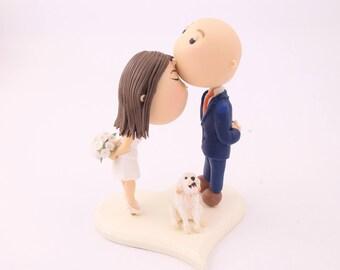 Cute couple kiss with pet dog. Wedding cake topper. Wedding figurine. Bride and Groom. Handmade. Fully customizable. Unique keepsake