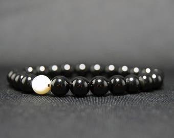 EXPRESS SHIPPING - Onyx & Mother of Pearl Bracelet, Mens Mala Bracelet, Womens Yoga Bracelet, Valentine's Day Gift