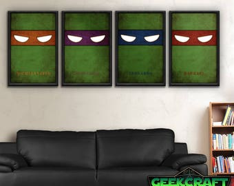 Teenage, Mutant, Ninja, Turtles, TMNT, Raphael, Donatello, Leonardo, Michelangelo, Pizza, TMNT Teenage Mutant Ninja Turtles Poster Print Set
