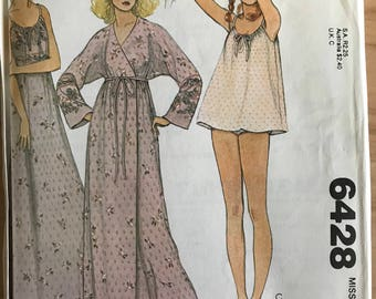 McCalls 6428 - 1970s Nightgown in Maxi or Babydoll Length, Bloomers, and Wrap Front Robe - Size Medium Bust 36 38