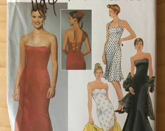 Simplicity 5672 - Jessica McClintock Body Conscious Dress with Princess Seams, Strappless or Sleeveless Halter Option - Size 4 6 8 10