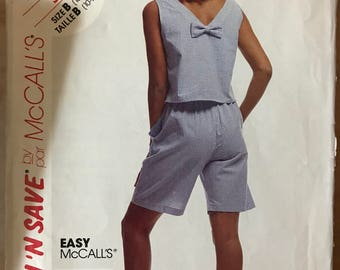 McCalls 5415 - Sleeveless Top with Back V and Bow and Shorts with Pockets - Size 10 12 14