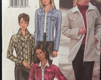 Butterick 3595 - Button Front Jacket in Two Lengths with Pointed Collar - Size 12 14 16