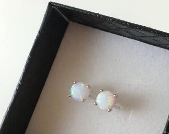 6mm Opal earring Stud.Synthetic Opal. 229