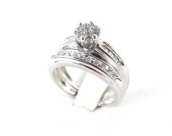 14k White Gold Diamond Engagement Ring - 14k White Gold Diamond Band - Engagement ring Sets Size 7