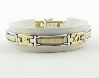 14K Yellow And White Gold Men's Bracelet - Two Tone gold Fancy Link Men's Bracelet 8 Inches 22.5 grams