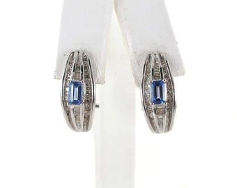 14k White Gold Fancy Diamond And Tanzanite Earrings 1.50 carats