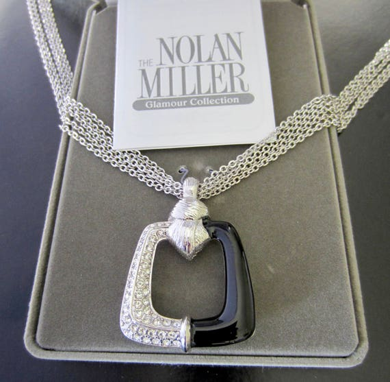 Nolan Miller signed Art Deco inspired Black enamel & crystal pendant, multi-strand chain Set ~original box ~loverly vintage costume jewelry