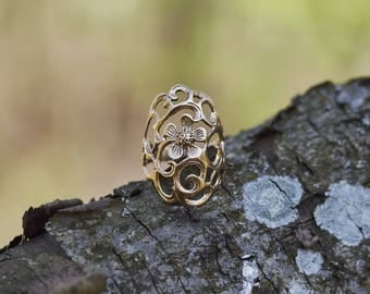 Flower Jewelry, Flower Ring, Bridesmaid Gift for Her, Nature Ring, Summer Jewelry, Summer Ring, Boho Ring, Boho Jewelry, Gold Ring for Women