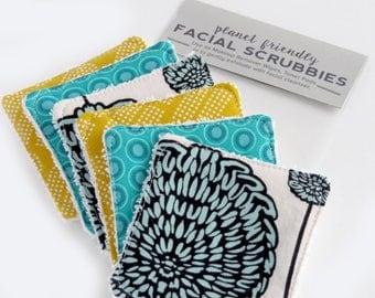 Face Scrubbies - Planet-Friendly Makeup Remover Pads - Set of 6 - Jade Mango