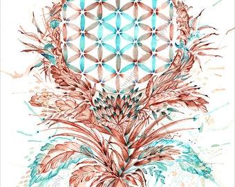 Die Blume des Lebens - Symbol - 21x29,7 cm Fine Art Print - Kunstdruck