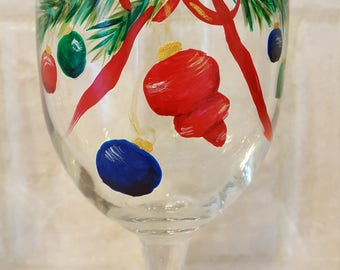 Christmas Wreaths - Wine Glasses