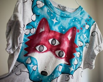unique three eyed fox t-shirt with starry sky and leaves