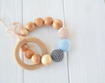 Teething ring with crochet beads and natural juniper beads - Crochet Baby Toy for boy - Wooden rattle